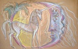 Еднорогът активира сърдечната чакра - картина на Дарина Янева