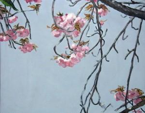 Пролетна клонка- картина на Дарина Янева с любимия за съзерцание на японците вишнев цвят